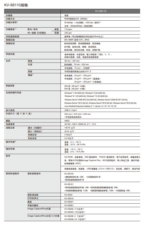 高速彩色文档扫描仪KV-S6110